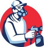 Spray Painter Spraying Paint Gun Retro Royalty Free Stock Photos