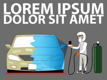 Spray painting auto body at car. Collision repair shop. Flat style vector illustration Royalty Free Stock Images