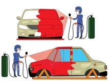 Spray painting car collision repair shop. Royalty Free Stock Photo