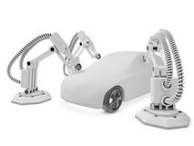 Spray painting robots. Industrial spray painting robots are operating in a car factory Stock Photo