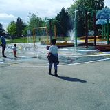 Spray park is open summer time Stock Photo