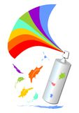 Spray with a rainbow fan and colorful blot Royalty Free Stock Photos