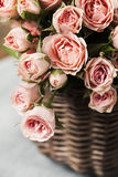 Spray roses. Bouquet of pink spray roses in basket Royalty Free Stock Image