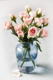 Spray roses. Pink spray roses in blue vase on grey background Stock Photos