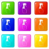 Spray set 9. Spray icons of 9 color set isolated vector illustration Royalty Free Stock Photography