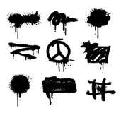 Spray set paint vector splatter grunge texture.Abstract Vector Background. Graffiti black Drips.Rough splash. Royalty Free Stock Photo