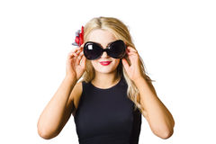 Spray tan girl wearing goggles. Tanning beauty Stock Photos