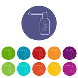 Spray for throat icons set vector color. Spray for throat icons color set vector for any web design on white background Royalty Free Stock Photos