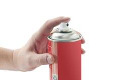 Spray tin. With male hand Stock Photo