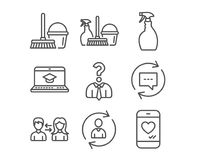 Spray, Update comments and Household service icons. Set of Spray, Update comments and Household service icons. Website education, Hiring employees and Bucket Stock Images