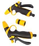 Spray water guns (with clipping paths). Spray water guns for garden (with clipping paths Royalty Free Stock Photos