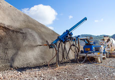 Sprayed concrete by machines Royalty Free Stock Images