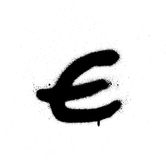 Sprayed E font graffiti with leak in black over white Stock Image