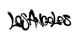 Sprayed Los Angeles font graffiti with overspray in black over white. Vector illustration. Sprayed Los Angeles font graffiti with overspray in black over white vector illustration
