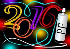 Sprayed New year 2016 party billboard in grunge street art style Royalty Free Stock Image