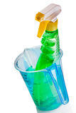 Sprayer bottle inside of measuring cup Stock Photography