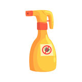 Sprayer bottle of mite or tick insecticide cartoon vector Illustration Royalty Free Stock Image