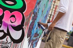 Sprayer on the Latir Latino Festival in Lima, Peru Royalty Free Stock Photos