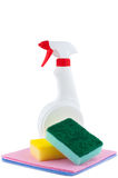 Sprayer with rags and sponge. Stock Image