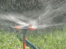 Sprayer watering green grass lawn. Moving streams of sprayer watering green grass lawn Royalty Free Stock Photos
