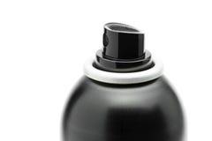 Sprayhaarschopf-Spraydose der Nahaufnahme schwarze lokalisiert auf weißem Ba Lizenzfreies Stockbild