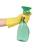 Spraying. And glove on white Stock Photo