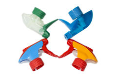 Spraying bottle plastic heads set Stock Images