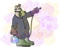Spraying chemicals. This illustration that I created depicts a man spraying chemicals Stock Image