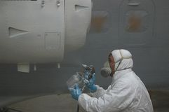 Spraying the engine Stock Photo