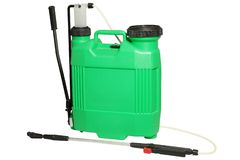 Spraying Fertilizer isolated. Hand-pumped sprayer. royalty free stock images