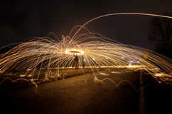 The spraying fire. On a big street Stock Photo