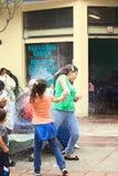 Spraying Foam at Carnival in Banos, Ecuador Royalty Free Stock Photos