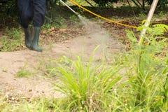 Spraying herbicide. A man is spraying herbicide in fram Royalty Free Stock Photos