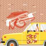 Spraying Inscription Get Out On Car And Wall. Stock Images