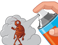 Spraying  insecticide on cockroach Royalty Free Stock Images