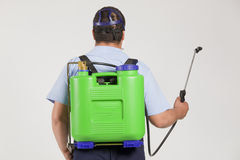 Spraying insects- pest control. A gardener is Spraying on white background Stock Images
