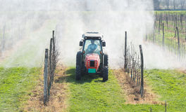 Spraying  orchard Royalty Free Stock Images