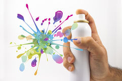 Spraying with paint Stock Photo