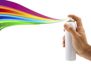 Spraying with paint Rainbow. Spraying with paint and Rainbow Ribbon in white background Royalty Free Stock Photography
