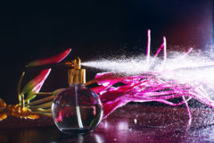 Spraying perfume bottle glass Royalty Free Stock Images