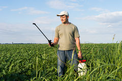 Spraying soybean field Royalty Free Stock Photo