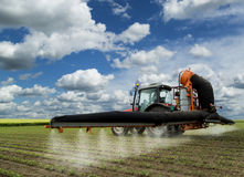 Spraying soybean field at spring Stock Images
