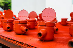Spraying water meter. Spraying color many water meter in the factory Stock Photos
