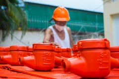 Spraying water meter. Spraying color many water meter in the factory Royalty Free Stock Photography