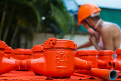 Spraying water meter. Spraying color many water meter in the factory Royalty Free Stock Images