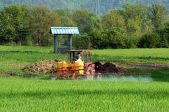 Spraying wheat field Royalty Free Stock Photo