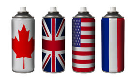 Sprays paint with the colors of country Stock Images
