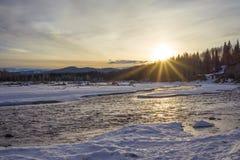 Sprazzo di sole del fiume del gomito fotografie stock libere da diritti