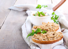Spread on bread. Chicken liver and vegetable spread on bread, selective focus Stock Image