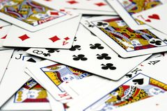 Spread of Cards. Pack of playing cards spread out in a random manner Royalty Free Stock Images